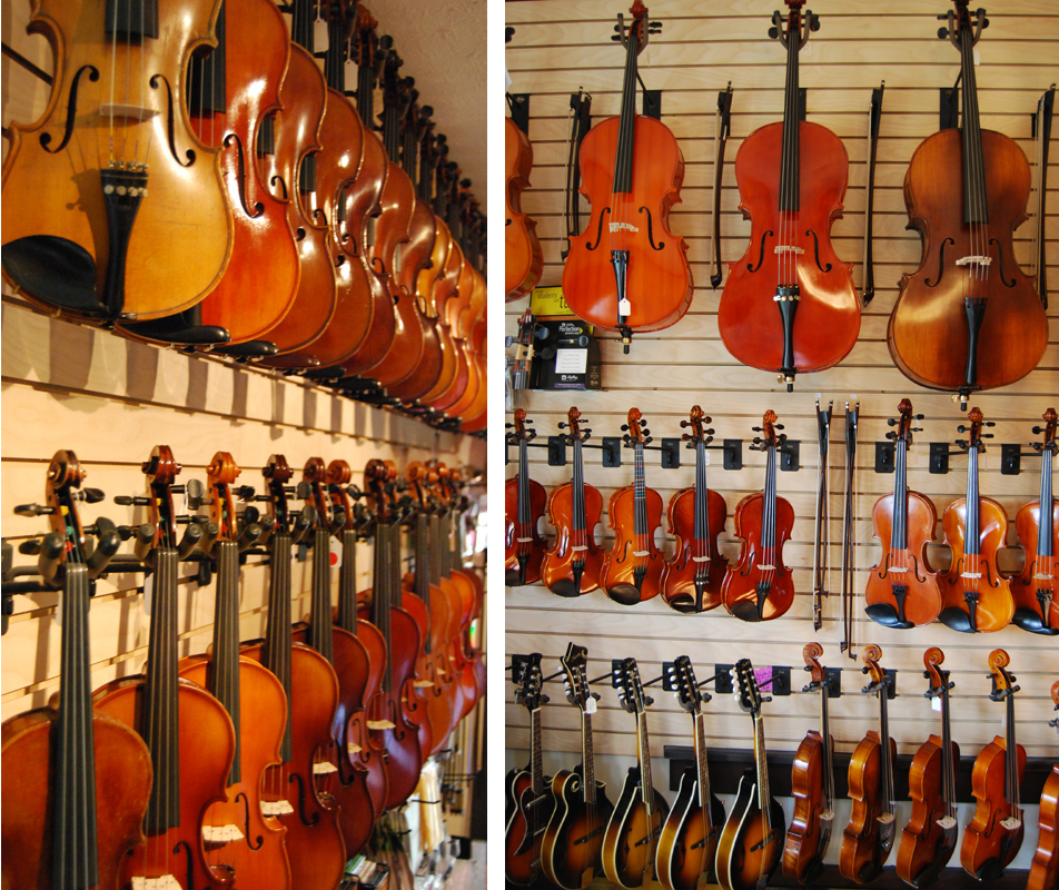 Just some of the instruments at Nashville Violins